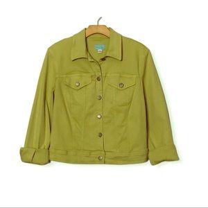 Vintage Spring Green Button Denim Jacket